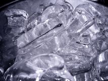 Chunks of Ice in a Metal Bucket. Royalty Free Stock Photos