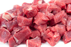 Chunks of meat. Chunks of lamb meat on white background Stock Photos