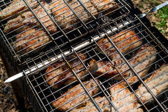 Chunks of pork cooked on the brazier Royalty Free Stock Photography