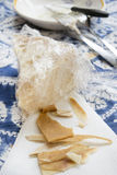 Chunks and rind of parmigiano cheese Stock Image