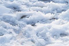 Chunks of Snow and Ice Walked On Royalty Free Stock Images