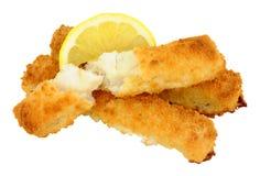 Chunky Breadcrumb Coated Cod Fish fingrar Royaltyfria Bilder