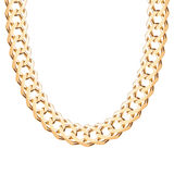 Chunky chain golden metallic necklace or bracelet Royalty Free Stock Photo