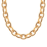 Chunky chain golden metallic necklace or bracelet Royalty Free Stock Photography