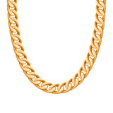 Chunky chain golden metallic necklace or bracelet. Personal fashion accessory design. Vector brush included Royalty Free Stock Photo
