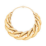 Chunky chain golden metallic necklace or bracelet. Royalty Free Stock Images