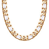 Chunky chain golden metallic necklace or bracelet Royalty Free Stock Photos