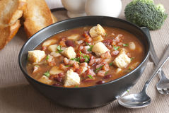 Chunky chilli meal soup Stock Images
