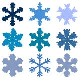 Chunky Marker Snowflakes Set royalty-vrije illustratie