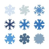 Chunky Marker Snowflakes Set vector illustratie