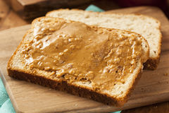 Chunky Peanut Butter Sandwich casalingo Fotografie Stock Libere da Diritti