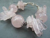 Chunky rose quartz and bali silver bracelet Stock Photo