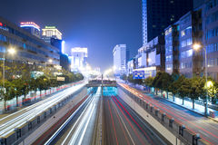 chunxi新的晚上路场面 图库摄影