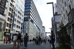 Chuo-Dori på Ginza Tokyo Japan royaltyfria foton