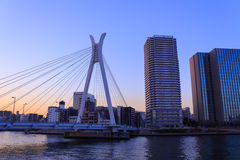 Chuo ohashi bridge and Skyscraper in Tokyo at dusk Royalty Free Stock Photography