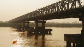 Chuong Duong Bridge in Hanoi On the Sunset. Vietnam. stock video footage