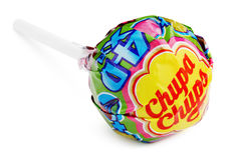 Chupa Chups XXL 4D klubbagodis som isoleras på vit Royaltyfria Foton