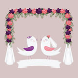 Chuppah halacha with birds. Jewish wedding invitation. Stock Photo