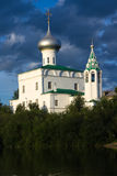 Church. And river on sunset light.  of sacred apostle Andrey Pervozvannogo in Vologda (Russia stock photos