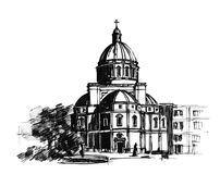 Church. Ink pen baroque church illustration Stock Image