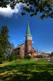 Church. Beautiful brick church in Berks County, Pennsylvania under a blue sky stock photography