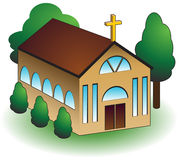 Church. 3d church building with trees isolated on a white background Stock Images