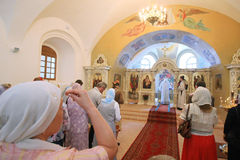 Church. KYIV, UKRAINE - JUNE 12: The Holy Spirit Church located at the territory of Kyiv-Mohyla Academy hosted blessing ceremony on the eve of the Pentecost on stock images