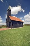 Church. Small wooden church on a meadow with wide eye lense Stock Photo