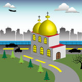 Church. Colorful illustration with church located near the intersection of two streets Royalty Free Stock Photography