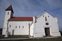 Church. Small villager church with white walls royalty free stock image
