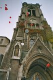 Church. This is a church in Braunschweig, Germany, Europe. The ballons are red hearts form a marriage Stock Photo