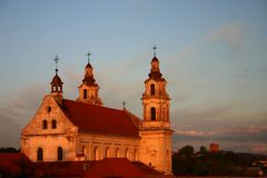 Church. Beautiful church in vilnius in a sunset Stock Image