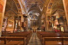 In church. A magnificent interior of church in a medieval small town Royalty Free Stock Photo