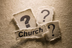 Church. Picture of a word Church with question marks Royalty Free Stock Photo