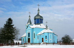 Church. Ukrainian Orthodox Church in the village in winter Stock Photo