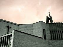 Church. Modern church with big cross in slovak republic stock image