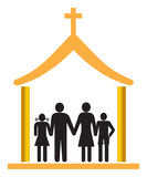 Church. Simple illustration of family with church royalty free illustration