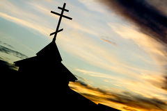 Church. A small Church building on the background of the night sky royalty free stock images