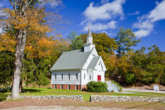 Church. Traditional American white church in the fall Stock Photo