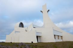 Church. Modern white church in Stykkisolmur, Snaefellsnes peninsula, Iceland stock photo