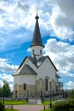Church. On a background of the dark blue sky royalty free stock photos