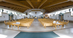 Church. Panoramic view of a modern catholic church Stock Photos