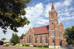 Church. Handsome brick church grace a corner in a small town Royalty Free Stock Photography