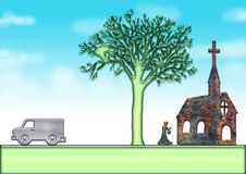 Church. Tree, person, car, lawn, at orchid color the background of the sky top royalty free illustration