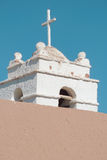 Church. Tower made of adobe, in the Atacama desert, Chile Royalty Free Stock Photos