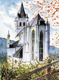 Church. Watercolor painted.Picture I have created myself Royalty Free Stock Images