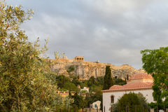 Church and Acropolis afternoon view from around Roman Agora, Ath Royalty Free Stock Photo