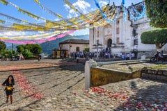 Church adorned for St John's Day, Guatemala Stock Photos