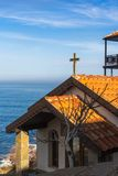 Church against the Black Sea in Bulgaria Stock Photo