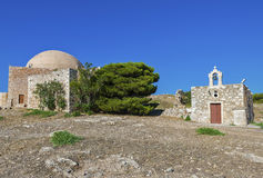 Church of Agia Ekaterini and mosque in Fortezza Rethymno Stock Images
